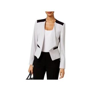 Nine West Womens Collarless Blazer Zip-Pocket Long Sleeves