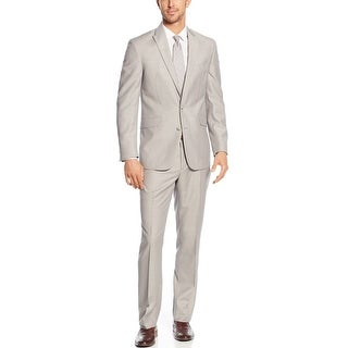 Kenneth Cole Reaction Slim Fit Taupe Pinstripe Suit 46 Long 46L Pants 40W