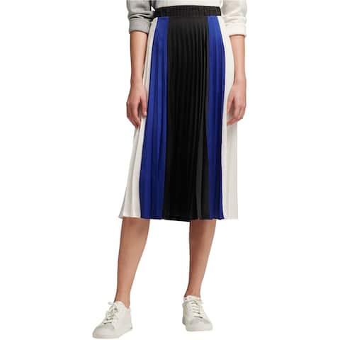 DKNY Womens DKNY Colorblock Pleated Pleated Skirt, Black, X-Large