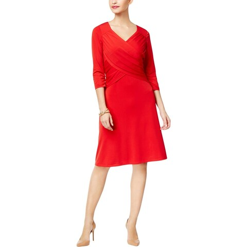 NY Collection Womens Party Dress Elbow Sleeves Knee-Length
