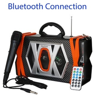 Boytone BT-36M Portable Audio karaoke Bluetooth PA Speaker System with Microphone, FM Radio, USB Port MP3 AUX ports, built in