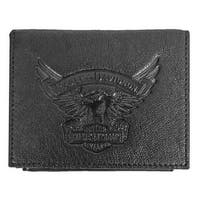 "Harley-Davidson Men's Eagle Emboss Leather Bifold Plus One Wallet EE9035L-BLK - 4.5"" x 3.375"""