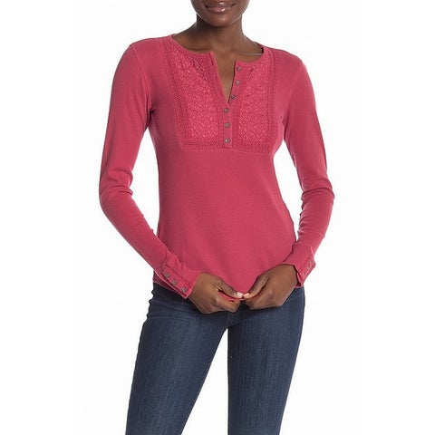 Lucky Brand Pink Womens Size Medium M Embroidered Thermal Top
