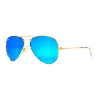 Ray Ban RB 3025 112/4L 58mm Gold Polarized Blue Flash Aviator Sunglasses - 58mm-14mm-135mm