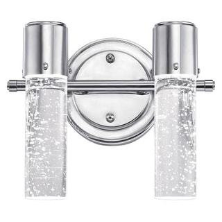 "Westinghouse 6307700 Cava 10"" Wide 2 Light LED Bathroom Vanity Light with Seedy Glass Shades - Silver"