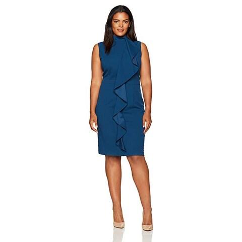 Adrianna Papell Knit Crepe Mock Neck Sheath Dress, Evening Sky, 20W