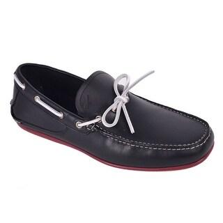 Salvatore Ferragamo Men Black Leather Contrast Tie Loafers