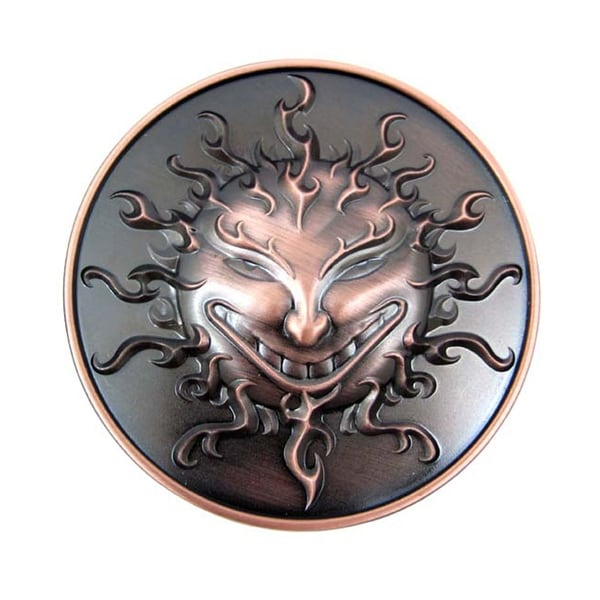 Copper Washed Grinning Sun Face Belt Buckle Devious