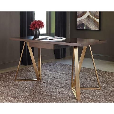 Strick & Bolton Flynn Walnut/ Rose Brass 1-drawer Writing Desk