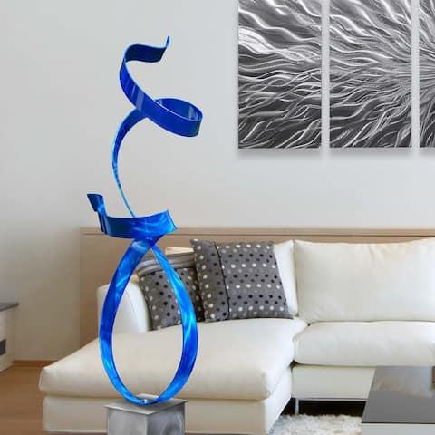 Statements2000 Large Abstract Metal Sculpture Modern Garden Art Decor by Jon Allen - Blue Allure with Silver Base