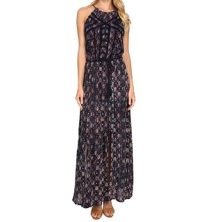 Lucky Brand NEW Blue Women's Size Medium M Printed Halter Maxi Dress