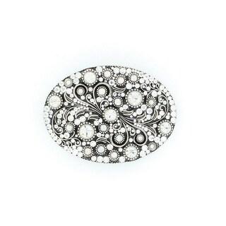 Nocona Western Belt Buckle Womens Crystal Silver Black 37690 - 3 x 4