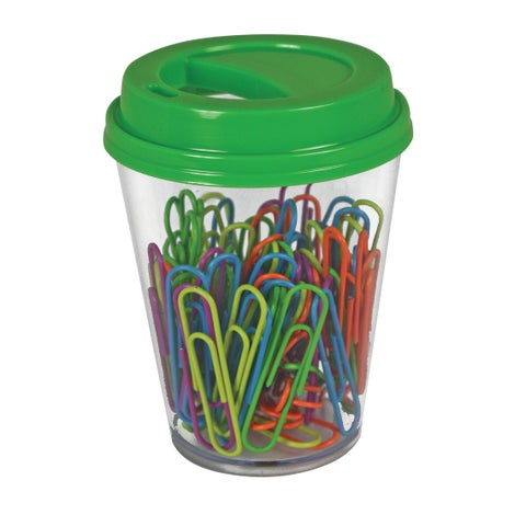 The Pencil Grip Paperclip with Coffee Cup Supply Storage, Assorted Color, Pack of 80