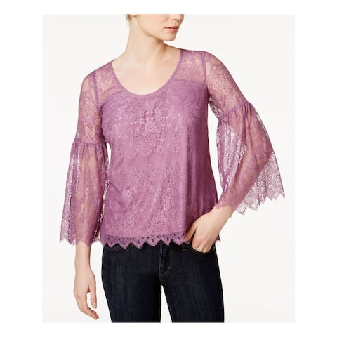 KENSIE Womens Purple Lace Bell Sleeve Scoop Neck Tunic Top Size XL