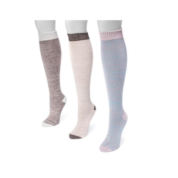 Muk Luks Socks Womens Microfiber Knee Fiber 3 pack One Size - One size