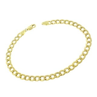 MCS JEWELRY INC 10 KARAT YELLOW GOLD HOLLOW CURB LINK CHAIN BRACELET (LENGTH: 8.5 INCHES)