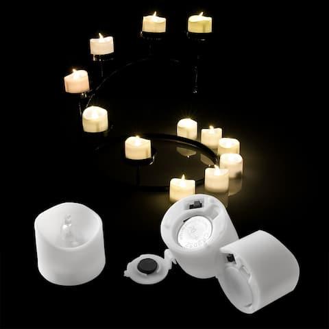 Image 12PCS Flameless LED Tealight Light Candles Flickering Flashing Battery Operated Warm White