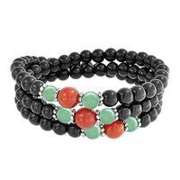 Bling Jewelry Beaded Imitation Onyx Imitation Jade Bracelet Silver Plated