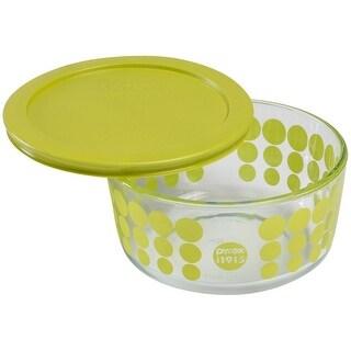 Pyrex 1119206 100th Anniversary Green Dot Storage Glass Dish, 4 Cup