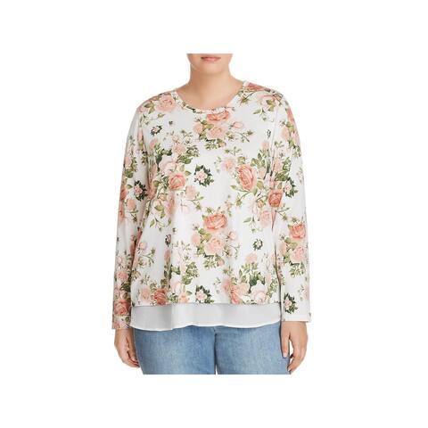 Bobeau Womens Plus Blouse Floral Print Layered