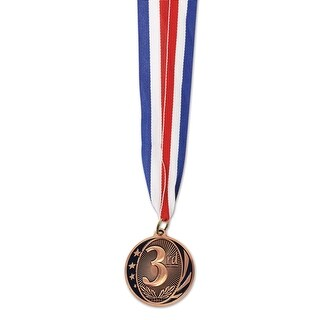Club Pack of 12 Third Place Bronze Medal with Ribbon Party Favors 30