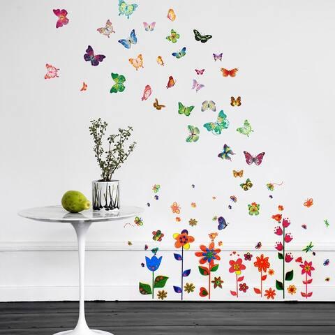 Walplus Colorful Flower Butterflies Children Wall Sticker Nursery Decor