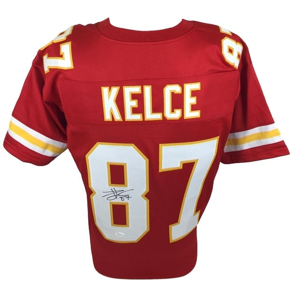 various colors f071c ee512 Shop Travis Kelce Signed Custom Red Pro-Style Football ...