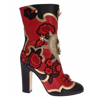 Dolce & Gabbana Roses Crystal Gold Heart Leather Boots Shoes - 38