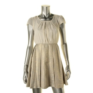 BCBGeneration Womens Metallic Pleated Cocktail Dress