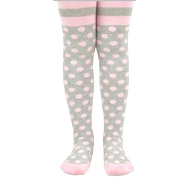 Jefferies Socks Little Girls Pink Grey Polka Dot Stripe Pattern Tights