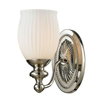 1 Up Light Bath Sconce With Polished Nickel Finish With Reeded Opal Glass - Bathroom Lighting - Height 9-Inches And Widt