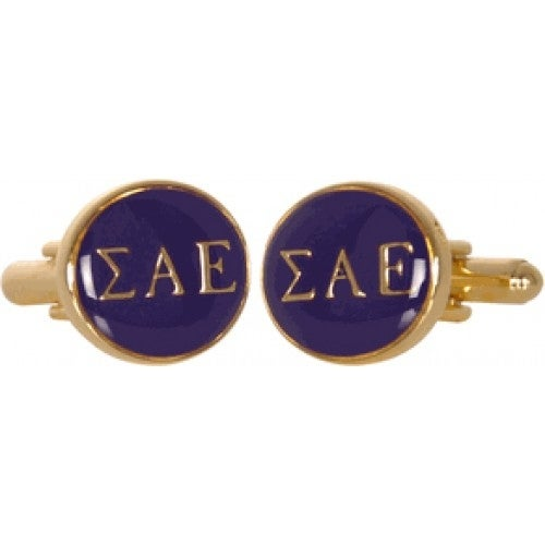 Sigma Alpha Epsilon Fraternity University Of Alabama Greek Purple Gold Cufflinks