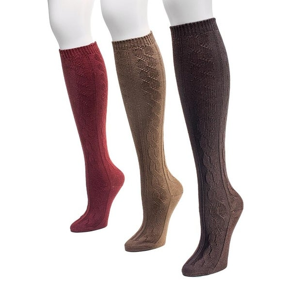 Muk Luks Socks Womens Knee High Cable Pattern 3 pack One Size - One size