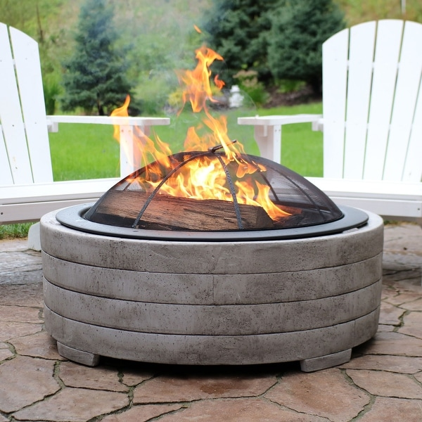 Sunnydaze Large Faux Stone Wood-Burning Fire Pit Ring with Steel Spark  Screen - Shop Sunnydaze Large Faux Stone Wood-Burning Fire Pit Ring With
