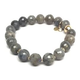 "Julieta Jewelry - 14k Gold Over Sterling Silver 10mm Labradorite, Gold Hematite 'Triple Station' 7"" Stretch Bracelet"