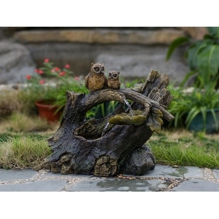 """22"""" Natural Tree Trunk and Woodland Owls Outdoor Patio Garden Water Fountain"""