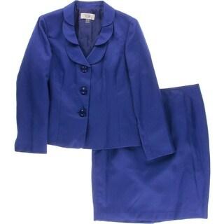 Le Suit Womens Petites Quebec Skirt Suit Textured 2PC