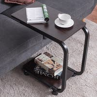 Costway 2 Tier U-Shaped Sofa Side End Coffee Table Tray Snack Home Office Furni W/Caster
