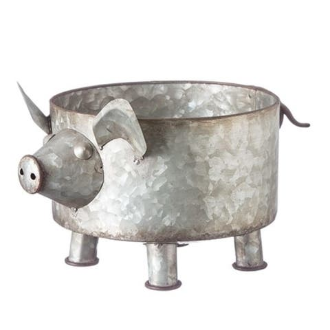 """Pack of 2 Gray and Brown Galvanized Finish Pig Pile Planters 7.25"""" - N/A"""