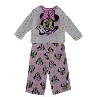 Disney Little Girls White Pink Minnie Mouse Bow Print 2 Pc Pajama Set