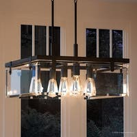 """Luxury Modern Farmhouse Pendant Light, 13.75""""H x 22.75""""W, with Industrial Chic Style, Olde Bronze Finish by Urban Ambiance"""