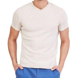 Nautica NEW Sea Sand Beige Mens Size XL Striped V-NeckTee T-Shirt