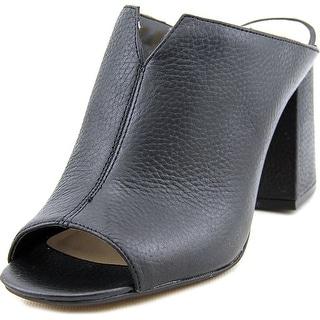 Vince Camuto Jesika Women Peep-Toe Leather Black Mules