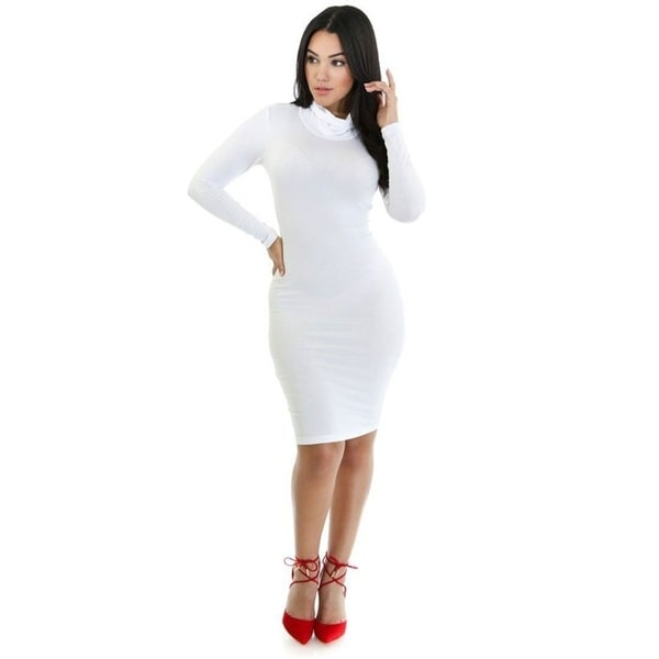 5ecefb34a75 Shop Long Sleeve Turtle Neck Bodycon Midi Dress (White) - Free Shipping On  Orders Over $45 - Overstock - 23016933
