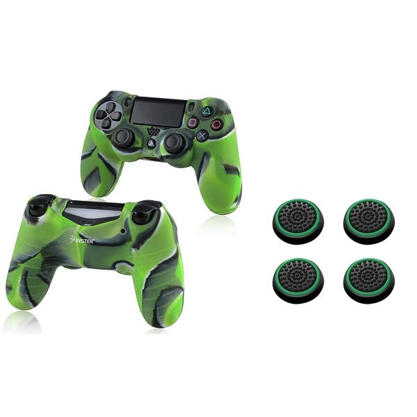 Insten Camouflage Green Silicone Skin Case/ 4-piece Set Green Controller Analog Thumbstick Cap for Sony Playstation 4 PS4