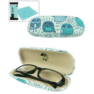JAVOedge Cartoon Owl Pattern Eyeglass / Reading Glass Hard Case and Bonus Microfiber Cleaning Cloth - Blue