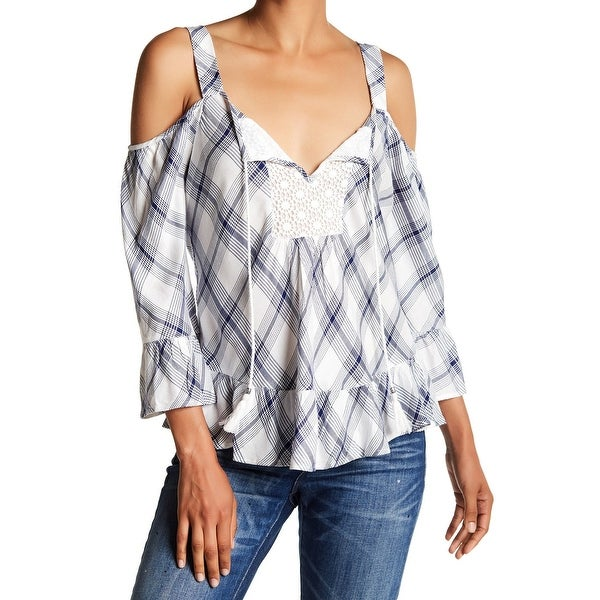 56d3a4f477b Shop DR2 Blue Womens Size Medium M Plaid Crochet Bib Cold-Shoulder Top - On  Sale - Free Shipping On Orders Over  45 - Overstock.com - 22201981