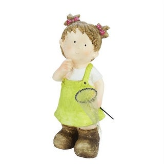 """18"""" Young Girl Gnome with Butterfly Net Spring Outdoor Garden Patio Figure"""