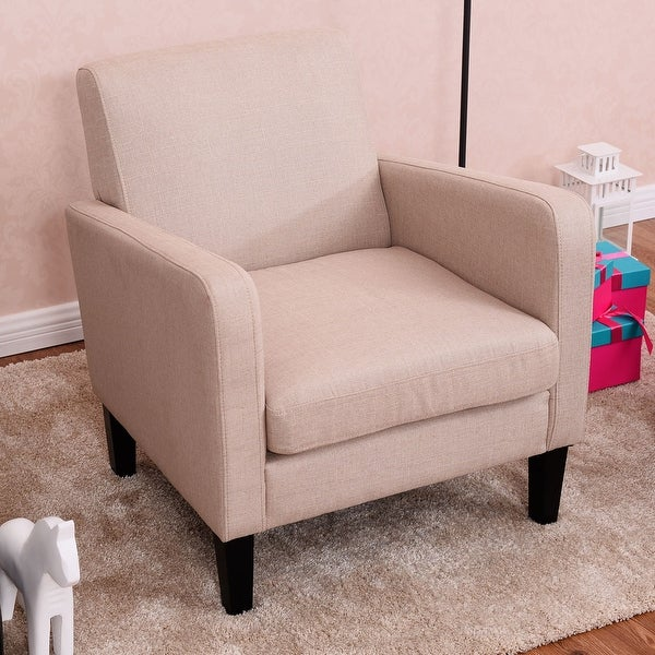 Costway Leisure Arm Chair Accent Single Sofa Fabric Upholstered Living Room Furniture