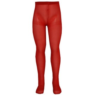 Nicole Little Girls Red Solid Color Soft Stretchy Opaque Tights 2T-6